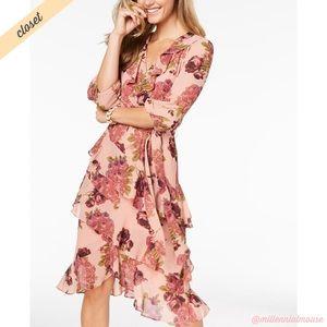 [Betsey Johnson] Pink Floral Ruffle Shift Dress
